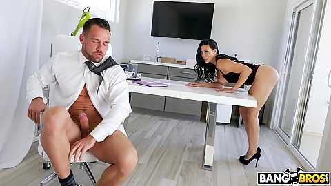 Energizing latina milf Rachel Starr bending her office desk wearing heels so her butt is nice and up right ready to get boss dick railing