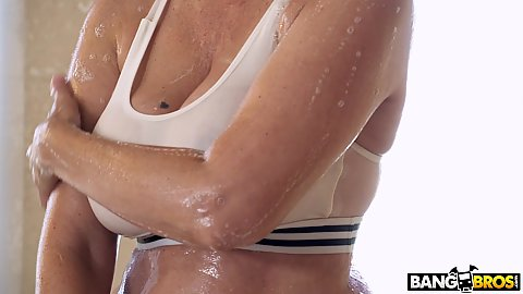 Big boobs on athletic milf in wet shirt shower fuck and suck with stepson Julia Ann