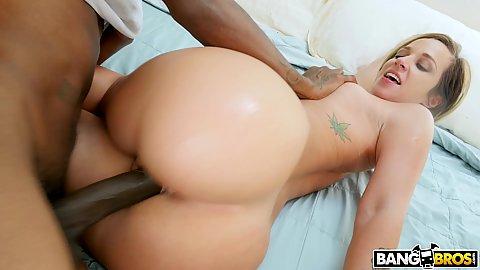 Black cock dick and a fleshy white butt blondie Jada Stevens 1 on 1 penetration