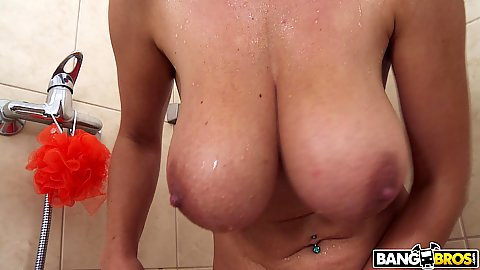 Really large knockers solo shower and soaping time with Katarina Hartlova