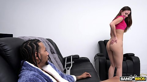 Guy after injury needs help making his massive black cock go up and this spunky lady Aidra Fox do just that