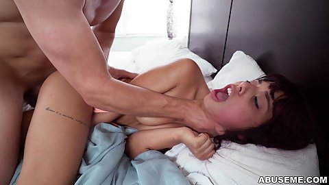 Gina Valentina  held by her throat rough ploughed with dick and cumshot shooting deep in her slobbered mouth
