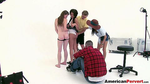 Group of sexy teen sluts fucked by their perverted photographers Lara Brookes and April ONeil and Jayden Lee