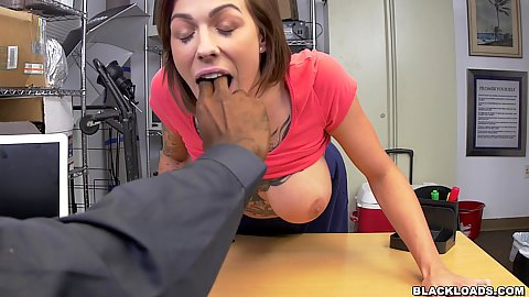 Harlow Harrison leans over the table for us to check her gag reflex before we load a massive black rocket in her mouth