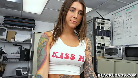 Felicity Feline here to get boob groped and a bit of a big black shaft blowing