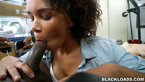 Lovely face and hot lips on this black girl giving head in audition office Raven