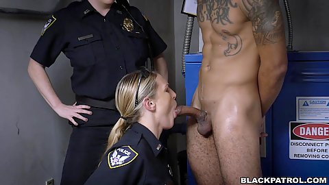 Oral and cock sucking with Joslyn and Maggie Green dragging their arrested male into a closet for a quick fuck