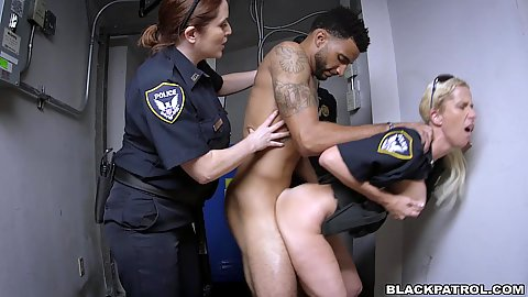 Doggy style standing sex with blonde and redhead uniformed police females Joslyn and Maggie Green fucking their future inmate
