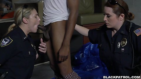 Joslyn and Nina Lopez with Maggie Green fucking a cheater they caught on the street guilty of a misdemenor break in and suck his dick