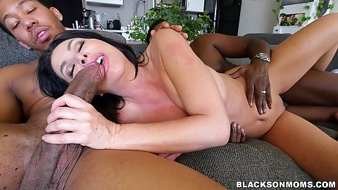 Threesome spooning and fellatio from horny white mifl Sasha Sean penetarted by two black cocks