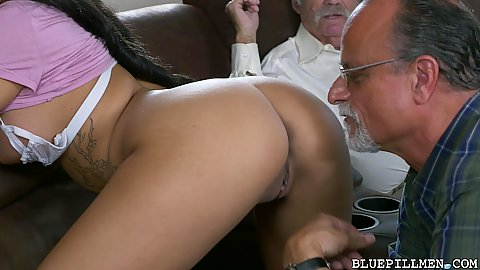 Two perverted grandpas got themselves this super sexy black chick Aaliyah Hadid and her smooth butt to amuse with