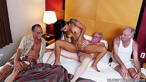 Hard fucking petite little latina youngster Nikki Kay having a lot of old aged dicks in her and they each cum on her forehead in pov