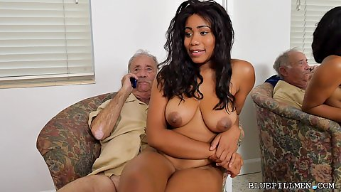 Jenna Foxx with a guy that is calling his friend to getll him that this sexy young thing is on his lap naked