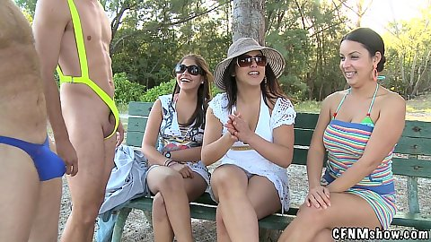 Sexy mankinis for cfnm girls to enjoy in a public park and touch