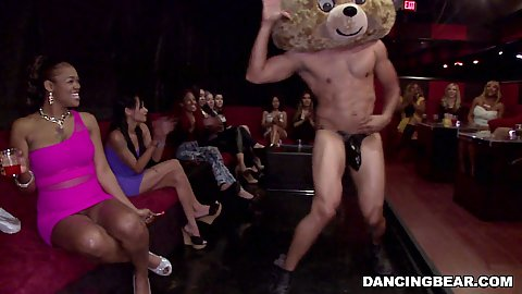 Dancing bear in his hat prancing around shaking his damn dick and girls enjoy it and jerk it
