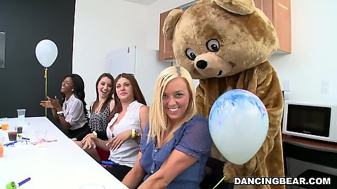 Girls get a special bear for their office party one that has a big black dick and they can suck it