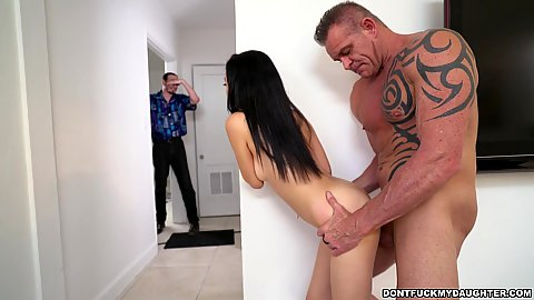 Sneaky standing fuck with stepdaughter petite Kiley Jay saying bye bye to her stepdaddy and fucking her tutor