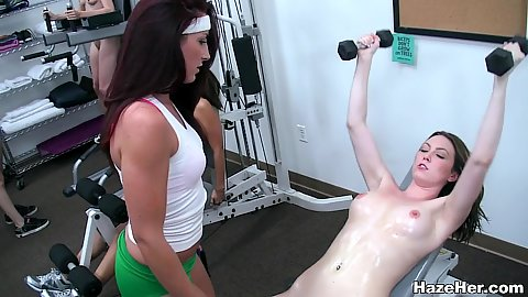 College campus gym with naked girls getting quite sweaty working out and shaking their naked butts