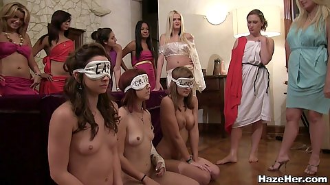 Naked girls blindfolded and entered into a room full of partying sorority sisters and asked to perform
