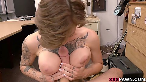 Pov titty fuck and trimmed snatch pounding on office desk with Harlow Harrison in 1 on 1