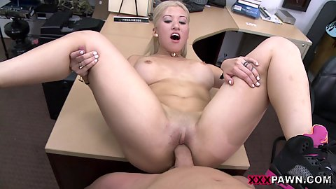 Pov nailing a meaty big jugged blonde stripper on our tabl ein the office and she will be paid