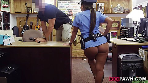 NO pants on ms police officer latina milf still having part of her uniform on and goves for oral in pov