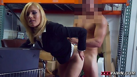 Banging horny half clothed milf in our warehouse for selling stolen goods she likes it and wants more