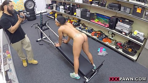 This latina athletic chick with curvy booty stole a workout machine from her gym and is trying to pawn it for cash