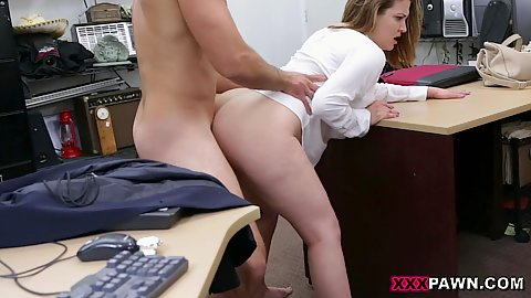 Fucking horny whit shirt no pants bubble booty mom milf while standing up holding on to a desk in our office