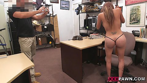naked stripping big chested latina office sucking some dick while trying to pawn some firearms