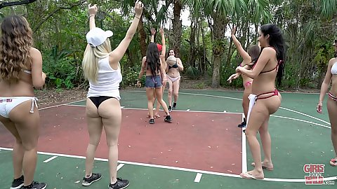 Party on the basketball court with bikini amateur dancing party animals like Mi Ha