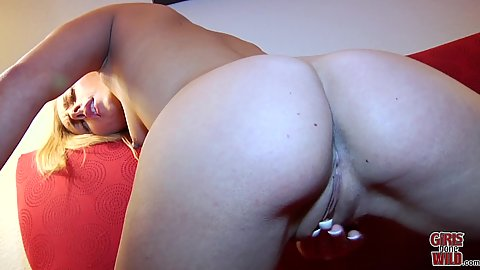 Pussy pounding herself with her palm and getting a toy out to complete the job with small bodied Kristin solo