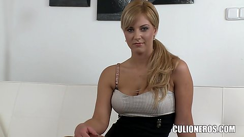 Shy and so damn beautiful this tall chick Nathaly goes in for a casting video with us solo