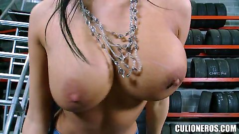 Huge boobs milf Anissa Kate goes to tyre garage and gets naked