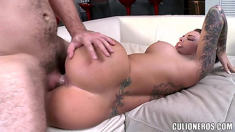 Pornstar in a sex game with facial on her face ready to blow Christy Mack