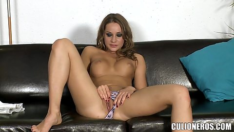 Majestic Russian cutie with firm boobies Irina Bruni rubbing her pussy lips solo