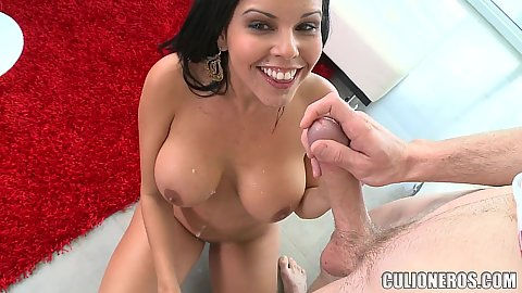Fellatio and revese cowgirl with Diamond Kitty slobbering all that juice over her own chest