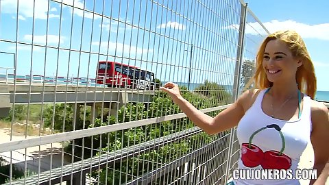 Cathy Heaven is out to impress gonna tease us with her boobs and a new bikini in public over a train station