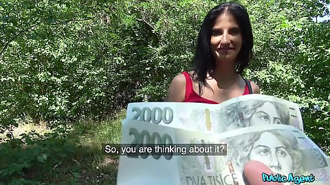 Sex for money or money for sex with clothed girl doing her park jog Aria Rossi eagerly accepts our offer to get naked
