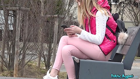 Lonely and chilly outdoors with British Rhiannon Ryder on a bench in public we find her looking for cash which we provide