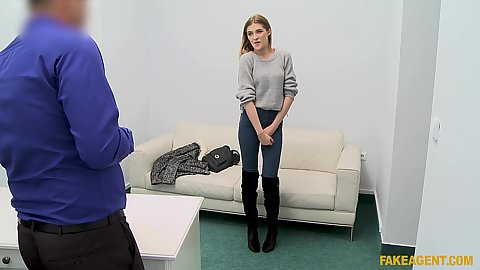 Shy and pleasing little office girl Rhiannon Ryder getting naked for our casting director and sucking hsi shaft