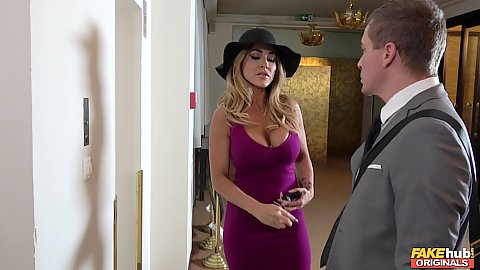 Busty and cleavage showing milf Aubrey Black in for a movie producer meeting