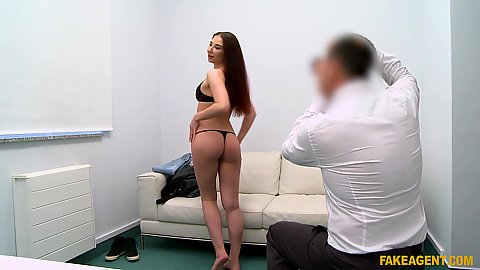 Stripping nude Violetta shows that she is not afraid to masturbate in front of strangers in their casting offices