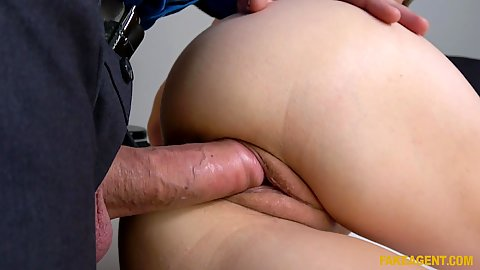 Large cock sideways ravaging this petite British Carmel Anderson vagina and she even deep throats it a bit