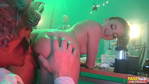 Eating vagina of a lovely lithe looking Lady Bug in the mad scientist xxx parody room