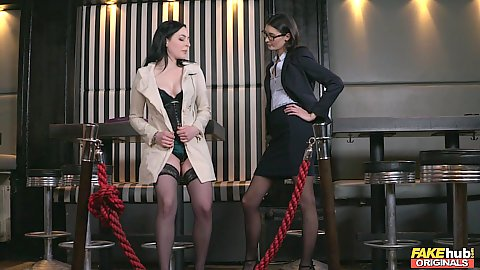 Two girls in the club are business bitches needing to settle something Nikita Ricci and Bambi Joli