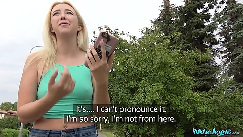 Blonde braless college girl out on the streets of Europe Samantha Rone looking for some cash and flashes boobs to a stranger