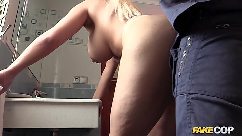 Dirty cop fucks big chestd inked body girl from Spain Candela standing up and naked