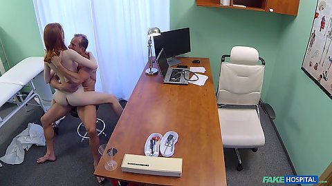 Cock humping with the doctor in a chair with 18 year old tiny bodied pale skinned Russian ginger haired girl Redley