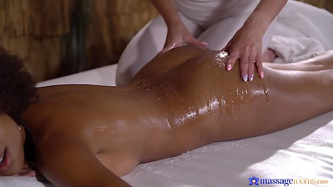 Nathaly Cherie and Luna Corazon in black girl white girl massage with oil and ass touching